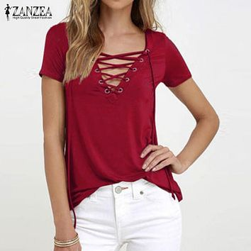 ZANZEA Women 2018 Summer Sexy V Neck Blouses Oversized Short Sleeve Casual Hollow Out Lace Up Solid Shirts Blusas Tee Tops