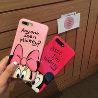 Smooth Mickey&Minnie couple mobile phone case for iPhone X 7 7plus 8 8plus iPhone6 6s plus -171113