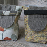 Small Reusable Gift Bags Autumn Upholstery Fabric Charcoal Gray Green Gold Leaf Print Party Favors (set of 2) --US Shipping Included