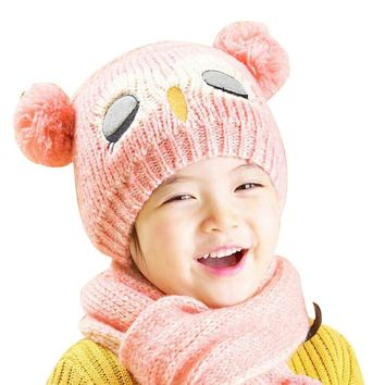 Winter Baby Knit Woolen yarn Crochet Toddler Kids Boy Girls Warm Balls Hat Beanie Knitted Hats and Scarf bonnet d'hiver