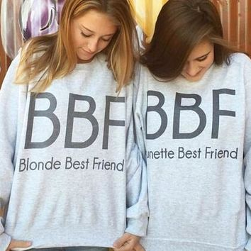 H1218 Intimate Girlfriend Hoodies BBF Blonde And Brunette Best Friend Clothes Gray Loose Sweatshirt Pullover Women Tops