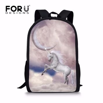 FORUDESIGNS Cute Girls Print Unicorn Backpack for School Personalized Grade Children Kids Bagpack Classic Polyester Rucksack