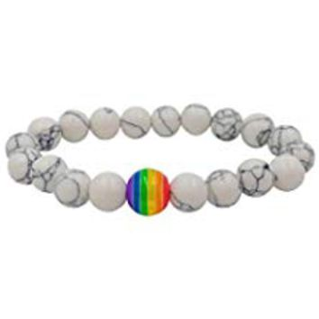 Rainbow Lava Rock Tiger Eye Stone Bead Bracelet LGBT Pride Elastic Relationship Healing Relief Beads Bracelets for Gay & Lesbian