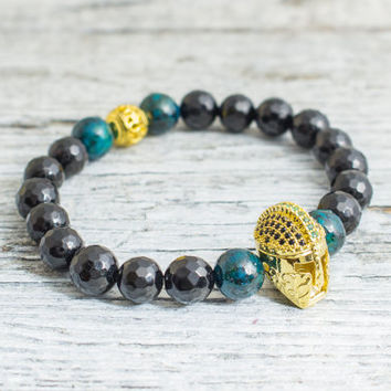 Faceted black onyx & green phoenix stone and beaded gold Spartan helmet stretchy bracelet, mens bracelet, womens bracelet