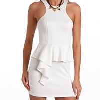 RACER FRONT BODYCON PEPLUM DRESS
