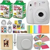 Fujifilm Instax Mini 9 Instant Camera WHITE + Fuji INSTAX Film (40 Sheets) + Accessories Kit Bundle + Custom Case with Strap + Assorted Frames + Photo Album + 60 Colorful Sticker Frames + MORE
