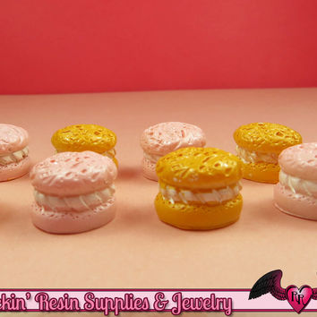 6 pc CREME PUFF Pastry Mini Sweets Resin Decoden Flatback Kawaii Cabochons 15x12mm