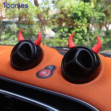 Mini Cooper Demon Horns Stickers Car Styling Auto Accessories Interior Decor Toy Dashboard Ornaments Cartoon 3D Stereo Sticker
