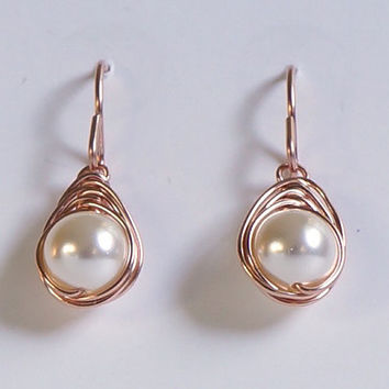 White Pearl Rose Gold Filled Earings, Herringbone Wrapped Pearl Earrings, Wire Wrapped Jewelry Handmade, Pink Gold Dangle Earrings