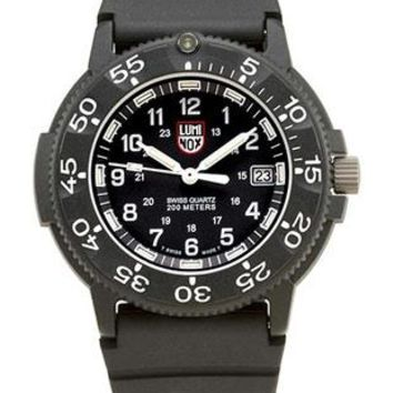 Luminox Men's Series 1 Navy SEAL Dive Watch - Black Face - Rubber Strap