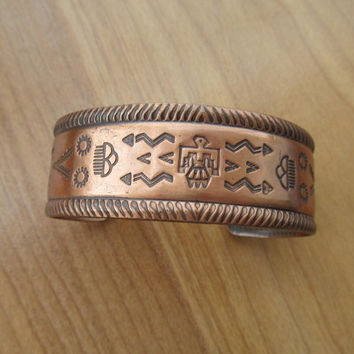 Copper cuff bracelet vintage American Indian Bell Trading Company