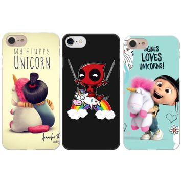 Deadpool Dead pool Taco Funny Minion My Unicorn Phone Cases For iPhone X 5.8  Riding a Unicorn Hard Cover For iPhone 5 5S SE 6 6SPlus 7 8 Plus AT_70_6