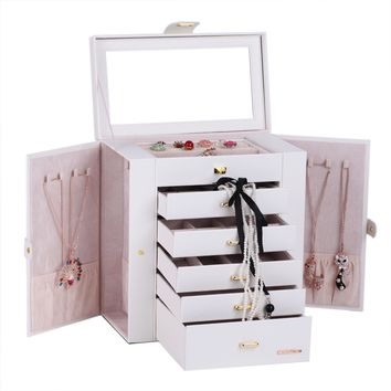 Mirror Jewelry Box Cabinet Ring Necklace Organizer Case Watch Storage Display 41