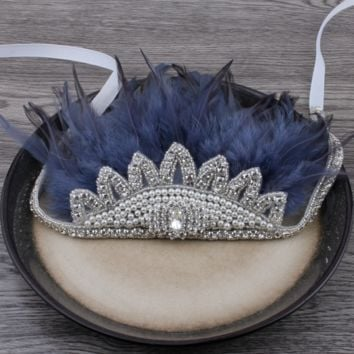 Boho Rhinestone Crystal Feather Headdress - Dark Blue