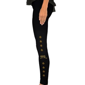 Gold Splash Pattern Custom Monogram Leggings
