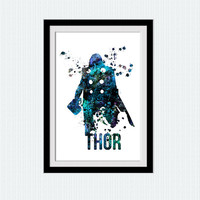 Thor watercolor poster Superhero colorful print Marvel art illustration Home decoration gift Kids room poster Thor colorful print art  W176