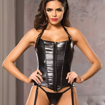 Faux Leather Buckle Halter Straps Corset with G-String