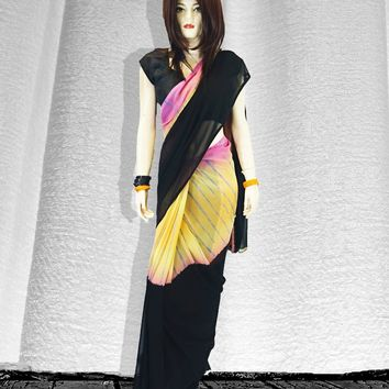tri-color blend faux goergette saree with striped sequins down center