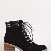 Chunky Stacked Heel Work Bootie