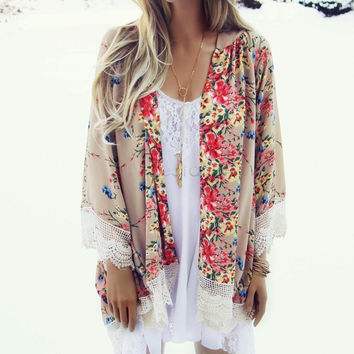 Summer Blouses Floral Pattern Printed Lace Kimono Cardigan 2016 Fashion Women Blouse Shirt Batwing Sleeve Blusas Femininas