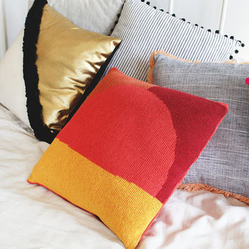 Desert Sunrise Knit Throw Pillow - Colorful Home Decor - Red Gold Maroon and Copper Abstract Design - Warm Living Room Boho Decor