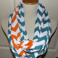 NEW!! Orange and Teal Blue Chevron LONG 2 Pair Team Game Day Miami Dolphins Scarves Jersey Knit Infinity Scarves