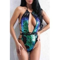 Mermaid Sequin One-piece Swimsuit