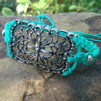 Unique Handmade Bracelet, Hemp Bracelet, Aquamarine, Large Center Piece, Gift for Her, Colorful Jewelry, Adjustable Bracelet, Gift