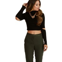 Black Clear Cut Crop Top