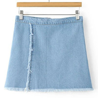 Light Blue Unedged Denim Mini Skirt