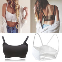 Newest Celebrity Sexy Women Bralette Cage Caged Back Cut Out Padded Bra Bralet Cotton Bra Vest Crop Tops Blusa