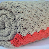 King size cream and coral crochet afghan, lap blanket, bedding, winter blanket
