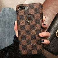 LV Trending Print iPhone Phone Cover Case For iphone 6 6s 6plus 6s-plus 7 7plus hard shell Black G