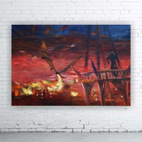 View: Dragon Smaug attacks Lake-town 110x160 cm S053 Large impressionism acrylic painting on unstretched canvas art by artist Ksavera | Artfinder