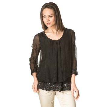 Black sequins silk blouse