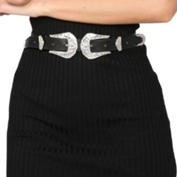 Buckle Down Black Silver Double Buckle Western Belt