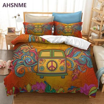 AHSNME Auspicious Camper Van 3pcs Duvet Cover Set Colorful Floral Peace Sign Bedding Set Kombi Car Pillowcase King Queen Size
