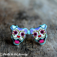 THE ORIGINAL Dia de los Muertos Sugar Skull Smiling Pit Bull Post Earrings
