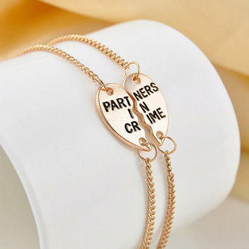 1 Pair Elegant Best Friends BFF Forever Partners In Crime Valentine Split Heart Pendant Bracelet Set