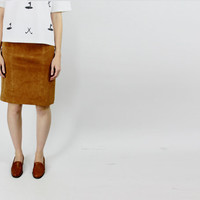 vtg brown suede leather skirt suede pencil skirt suede panel skirt size 28 waist medium M simple minimalist skirt
