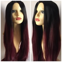 Mahogany Ombré, Black Burgundy Red Dip Dye Natural Cosplay Wig