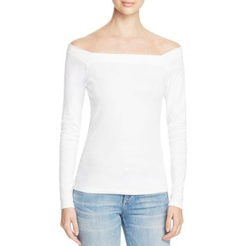 Three Dots Womens Off-The-Shoulder Tee Pullover Top