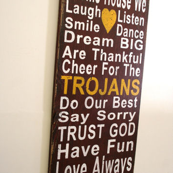 Trojans Family Rules Sign Custom Sign Personalized Sign Distressed Wood Sign Handmade Sign Mancave Sign Cardinal Red and Gold