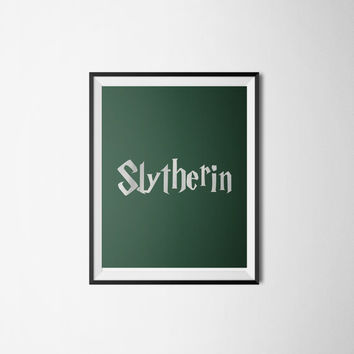 Slytherin Silver Foil Wall Art - Harry Potter Poster -Green and Silver Printable