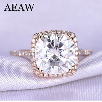 3 Carat ct DF Cushion Cut Engagement&Wedding Moissanite Diamond Ring Double Halo Ring Genuine 14K 585 Rose Gold
