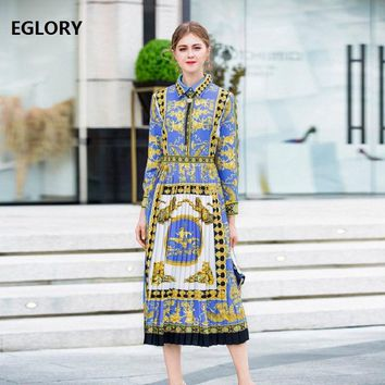 2018 Autumn New Chic Woman Dress High Quality Lady Tunic Print Long Sleeve Mid-Calf Length A-Line Party Casual Dress Pleated