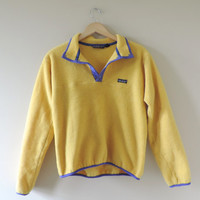 Vintage Adult Patagonia Yellow & Purple Pullover Fleece Jacket // Size MEDIUM
