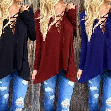 Autumn Sexy Deep V Hollow Out Hats Long Sleeve Tops T-shirts [6050447745]