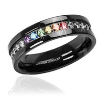 Jet Black Super Full String Clear & Rainbow Ring - Gay & Lesbian Pride Ring (Great as Gay Gift or Wedding Marriage or Engagement band w/ CZ Stones) GLBT / LGBT Pride Jewelry