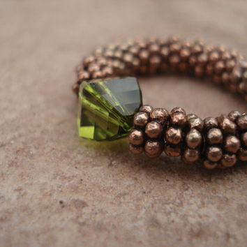 Olive Swarovski Crystal Ring with Antique Copper Daisy Shape Beads, Stretch Ring, For Her